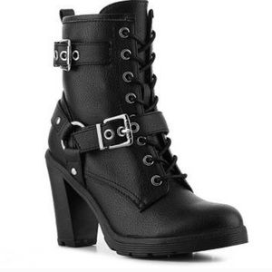 GUESS Sussex Lace-up Heeled Combat Boots
